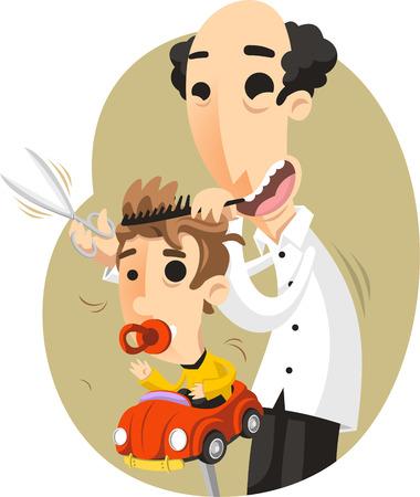 children hairdresser cartoon illustration