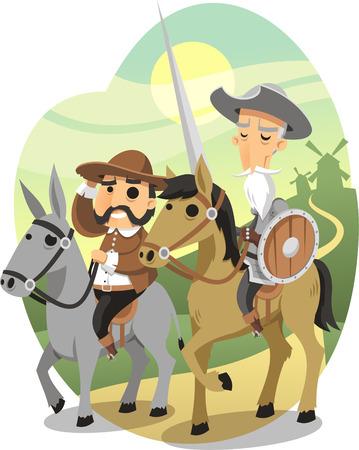 Don Quixote cartoon illustration Vettoriali