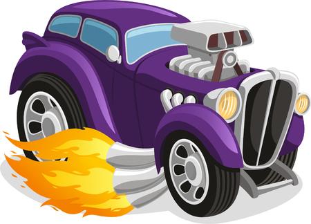 Muscle car smoking flame, illustration cartoon.