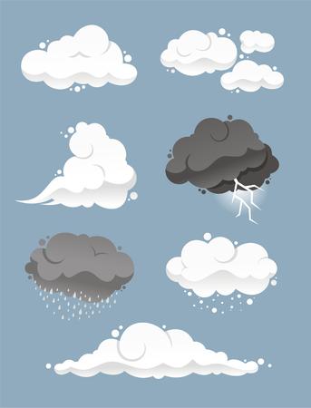 Conjunto de nube de dibujos animados Ilustración de vector