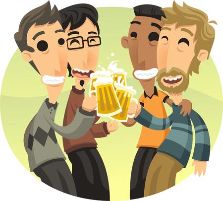 Amis à la fête Célébrer et boire Dessin d'illustration de bière. Banque d'images - 72078500