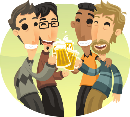 Friends at party Celebrating and Drinking Beer illustration cartoon.