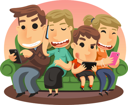 holding smart phone: Family using smartphones illustration cartoon.