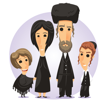 hasidic: hasidic jew family cartoon illustration Illustration