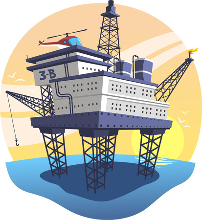 Oil Platform floating over the sea with helicopter, illustration cartoon.