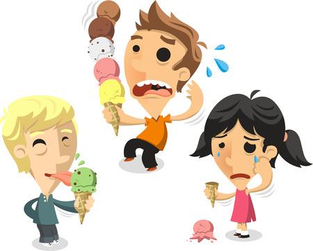 Children eating ice cream cones cartoon illustration Illustration