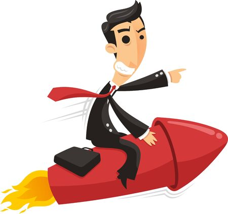 Confident Business Man riding space rocket breaking ground, illustration cartoon. Illustration