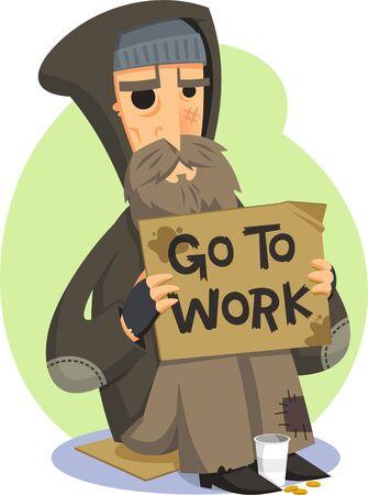 underpass: homeless man holding sign cartoon illustration Illustration