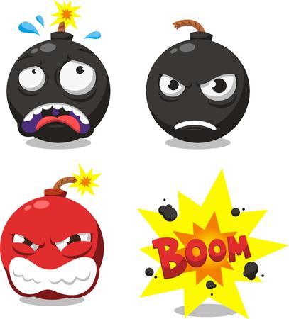 groupe: cartoon bomb set Illustration