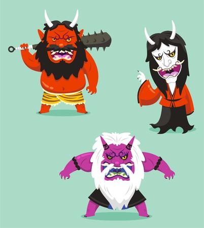 japanese demon oni cartoon set