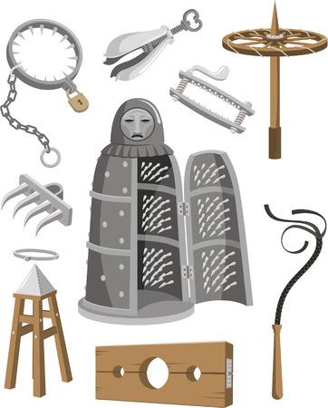 Medieval Torture Tools Set cartoon illustration