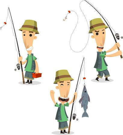 Fisherman with fishing equipment and fish, illustration cartoon.