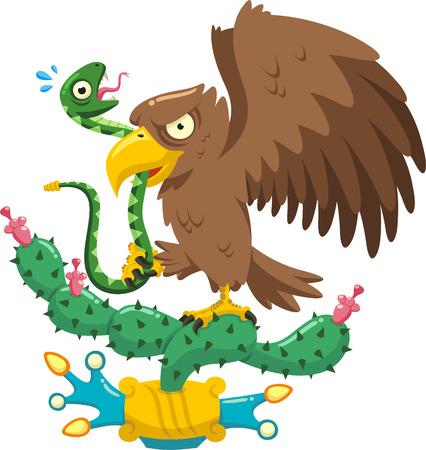 coat of arms of mexico cartoon illustration Vettoriali