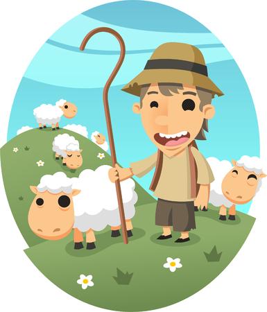 little shepperd with herd cartoon illustration