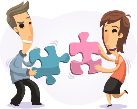 Karikatur Paar passende Puzzleteile zusammen