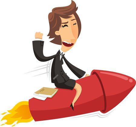 Confident BusinessWoman riding space rocket breaking ground, illustration cartoon.