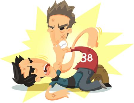 deportes caricatura: los hombres con puño ilustración