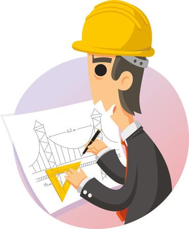 engineer drawing plans cartoon illustration