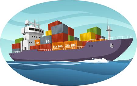 Cargo Ship cartoon illustration Ilustração