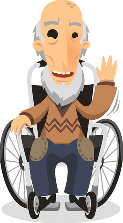grandpa on wheelchair cartoon illustration