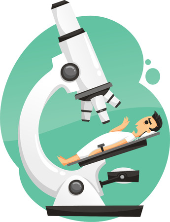 extreme science: patient under microscope cartoon illustration