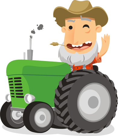 farmer driving tractor cartoon illustration