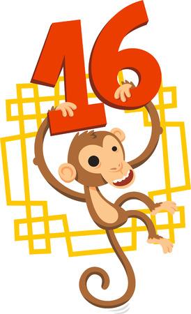 2016 chinese new year of the monkey Illustration