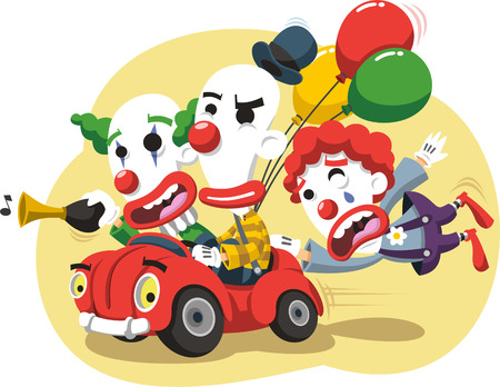 Circus Clown Performance in Car with balloons and horn cartoon illustration Banco de Imagens - 72078550