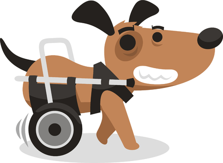 handicapped disabled agility dog wheelchair Illustration