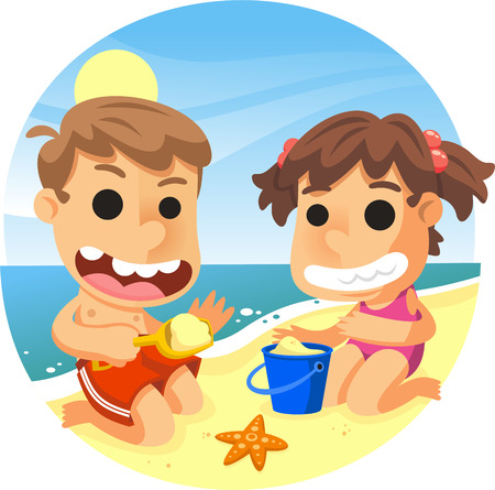 Children playing with bucket, shovel and sand in the beach illustration cartoon. Çizim