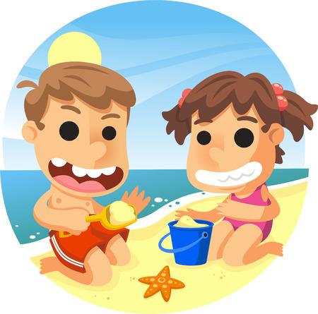 Niños jugando con cubo, pala y arena en la ilustración de dibujos animados de playa. Foto de archivo - 72078554