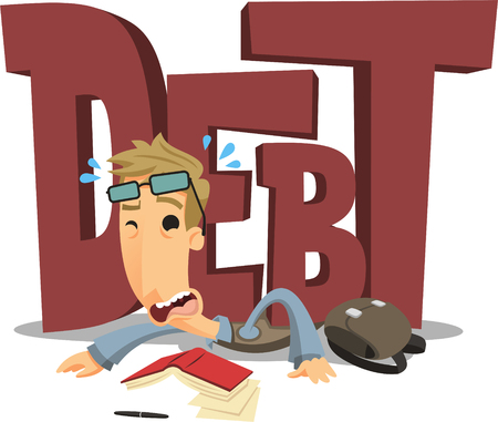 student crushed by debt cartoon illustration