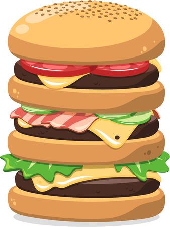 super tasty hamburger cartoon illustration