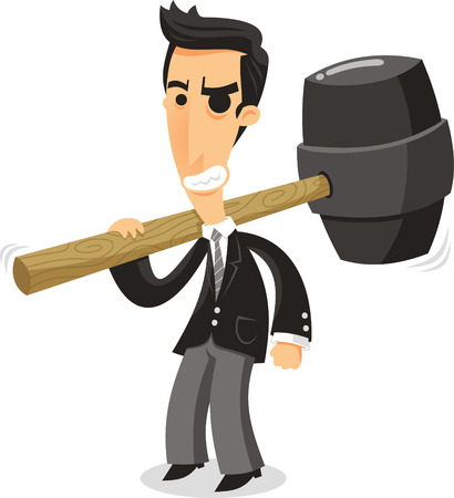 businessman with big hammer cartoon illustration Illusztráció