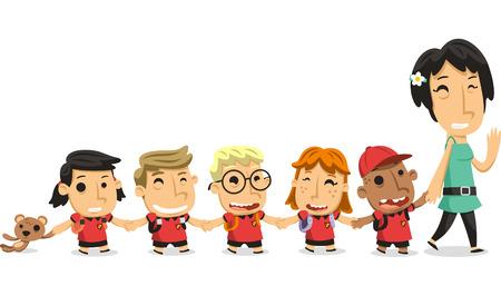 34: Kindergarten preschool children walking holding hands with teacher illustration cartoon