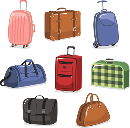 set going: travel Luggage cartoon set Illustration