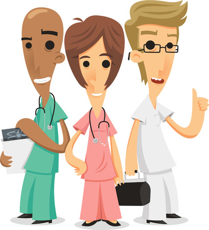 general practitioner: nurse team cartoon illustration