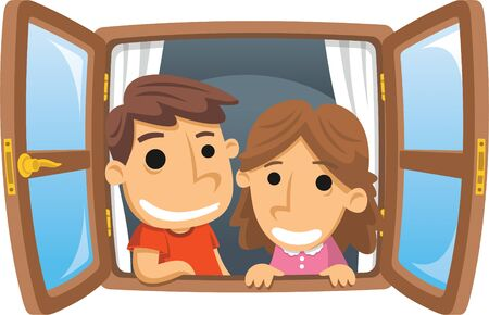 Boy and Girl smiling through the Window illustration cartoon.