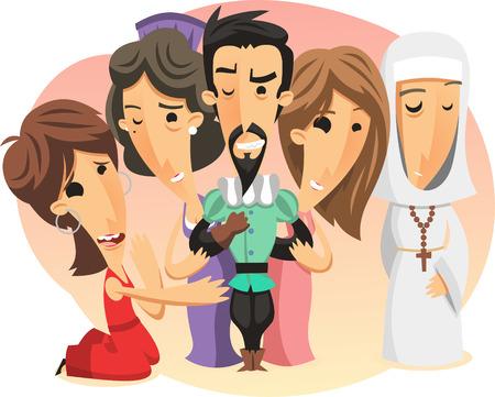 sinful: Cartoon illustration