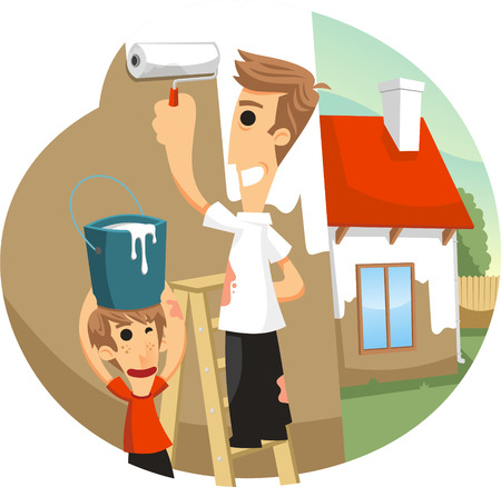 father and son painting house cartoon illustration Illustration