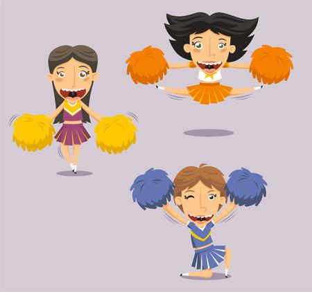 Happy Smiling Cheerleader Jumping with Pom Pom, illustration cartoon. Illustration