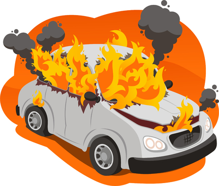 burning car illustration 向量圖像