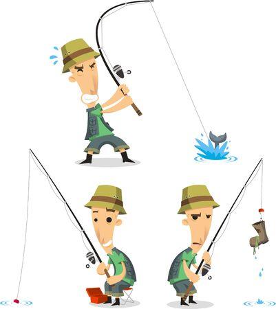 Pêcheur avec équipement de pêche, dessin animé d'illustration.