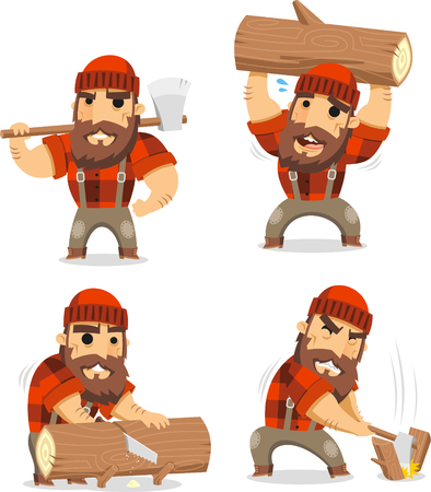 lumberman cartoon set Ilustrace