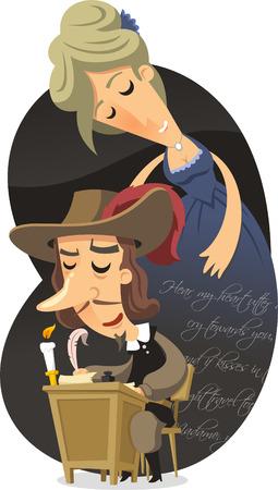 Cyrano de Bergerac cartoon illustration Illustration