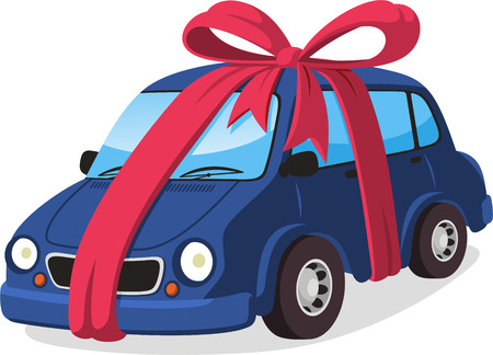 car gift with ribbon cartoon illustration Çizim