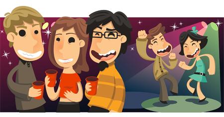 social gathering: Party People Dancing and Drinking at Nightclub, illustration cartoon. Illustration
