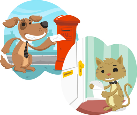 cat and dog exchanging letters