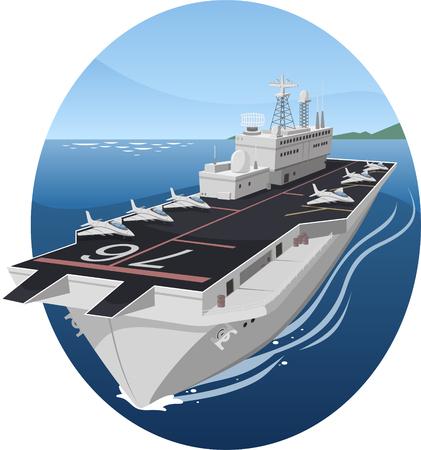 Aircraft carrier war battle warship cartoon illustration Illusztráció