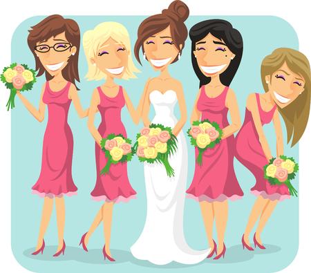 wedding bride and bridesmaids cartoon illustration
